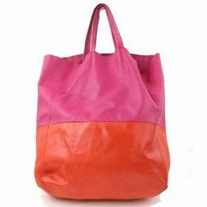 Céline Pink Orange Two Tone Vertical Bi-Cabas Tote